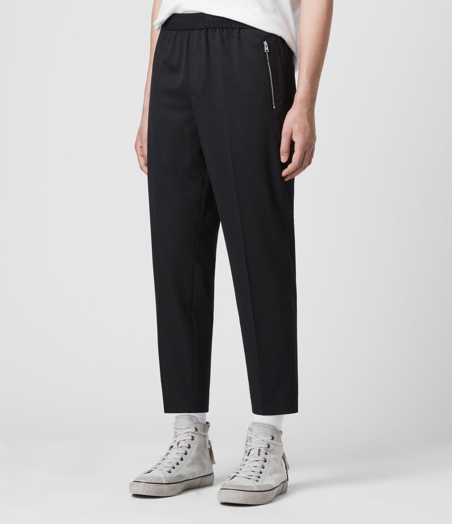 Men's Buxton Cropped Slim Trousers (black) - Image 4