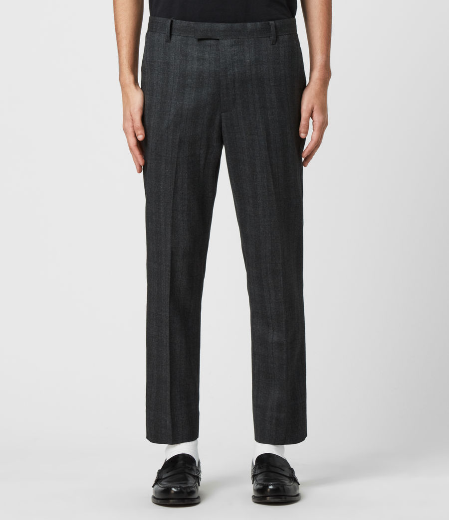 Herren Foxley Check Trousers (charcoal_grey) - Image 1