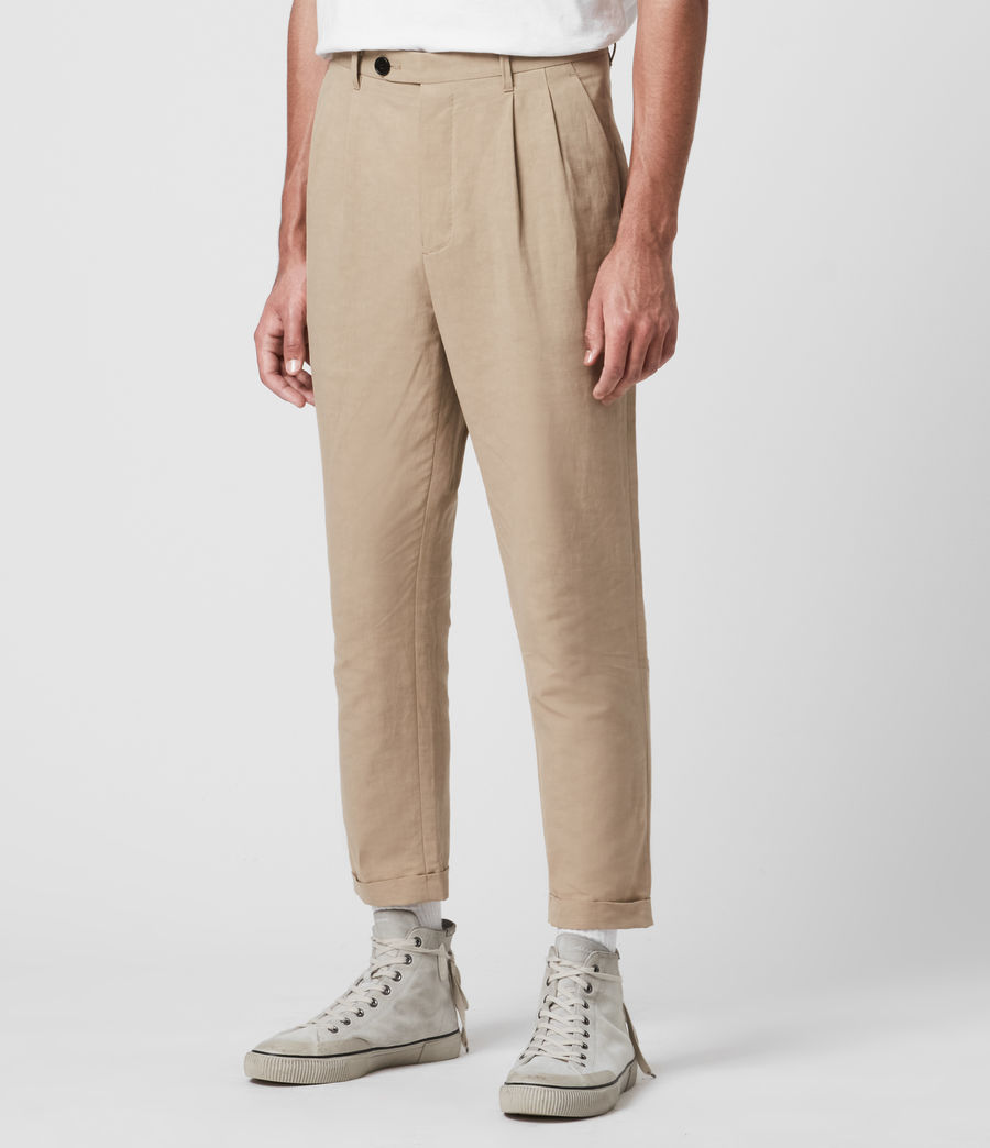 Men's Chiswell Linen Blend Cropped Slim Trousers (cord_taupe) - Image 3