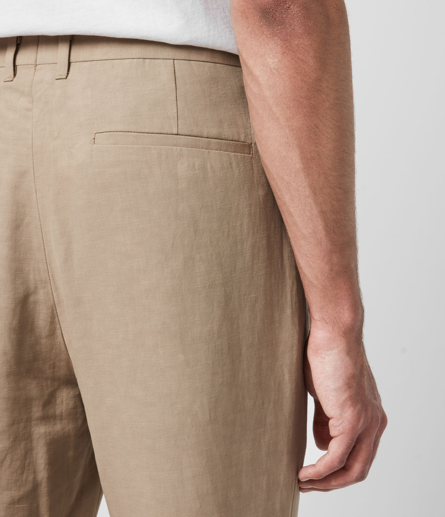 Men's Chiswell Linen Blend Cropped Slim Trousers (cord_taupe) - Image 4