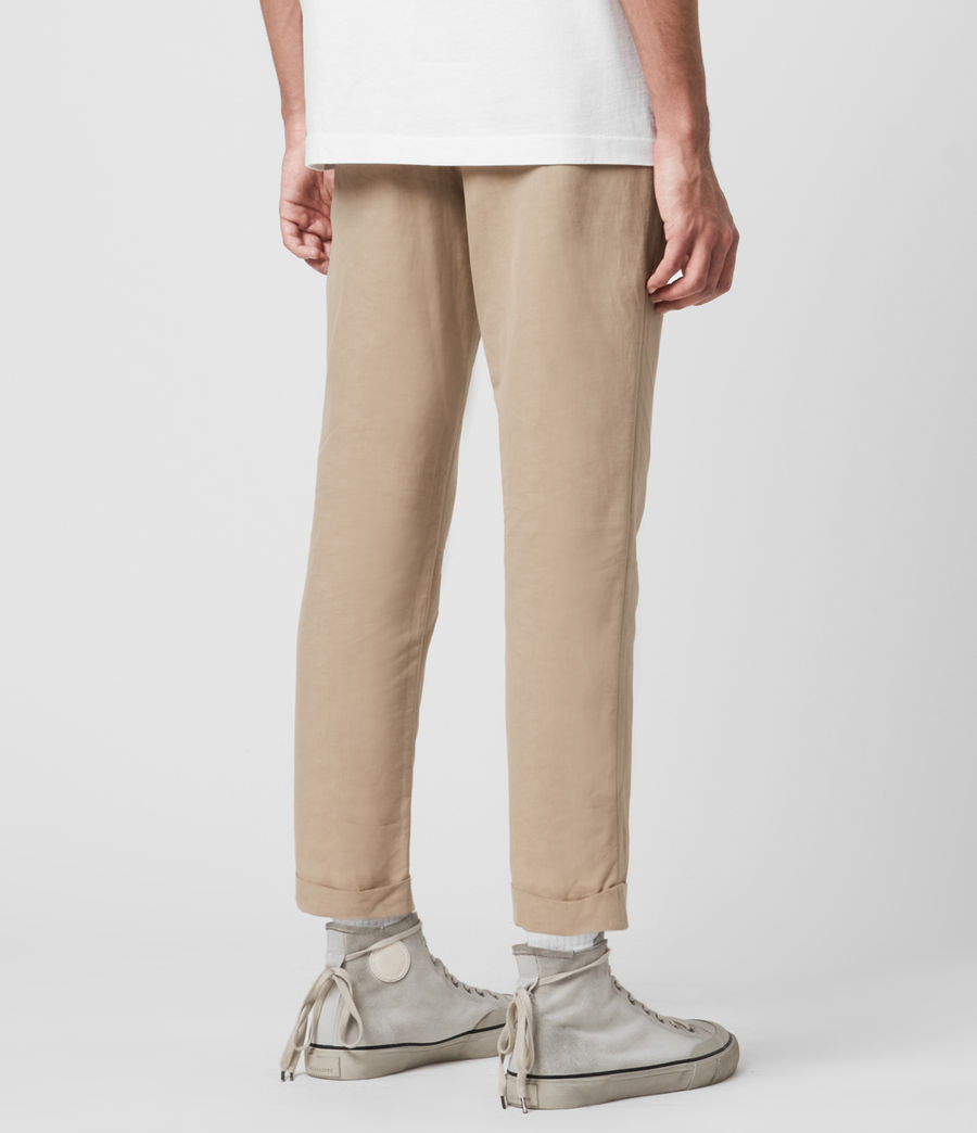 Men's Chiswell Linen Blend Cropped Slim Trousers (cord_taupe) - Image 5