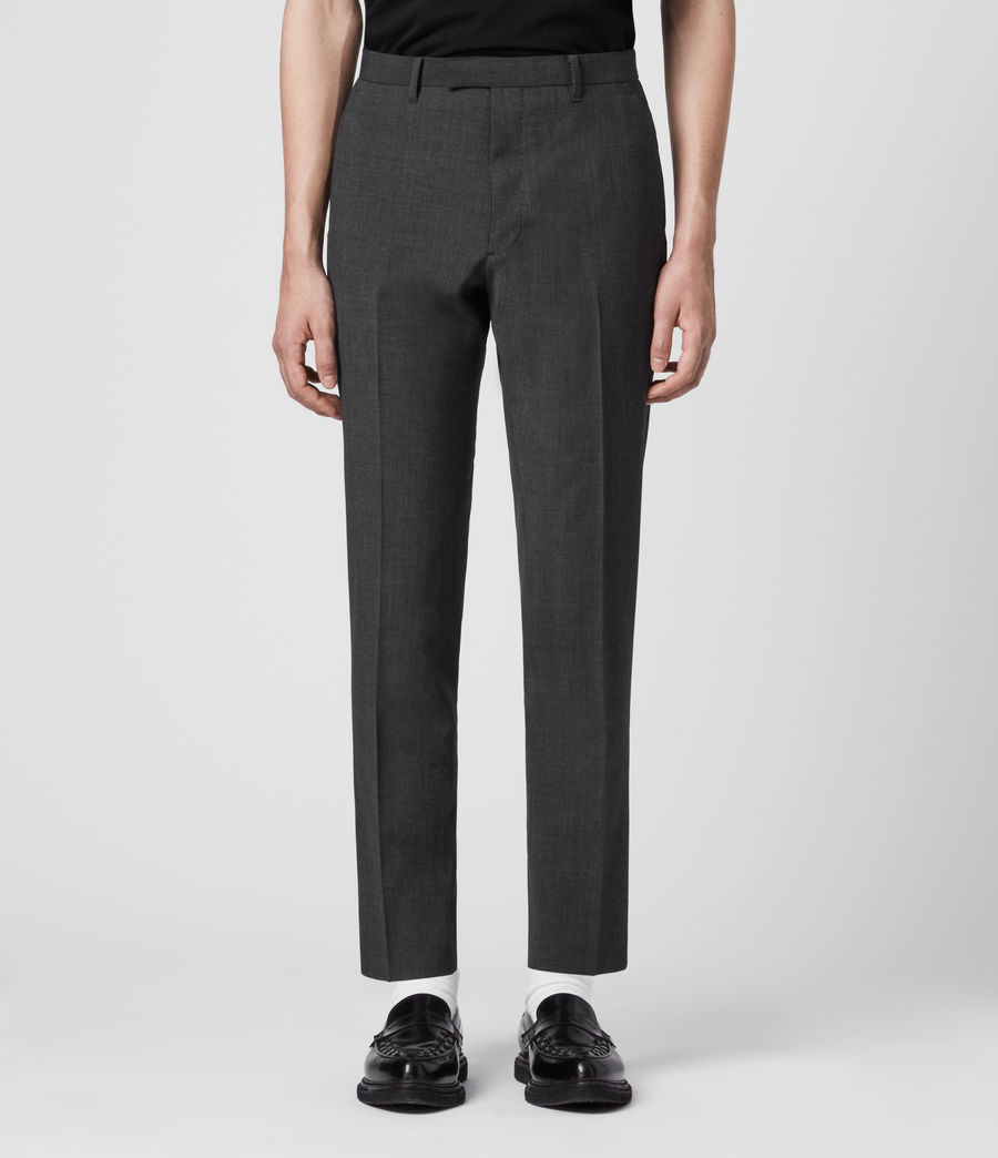 Hombres Cleaver Cropped Slim Trousers (dark_grey_marl) - Image 1