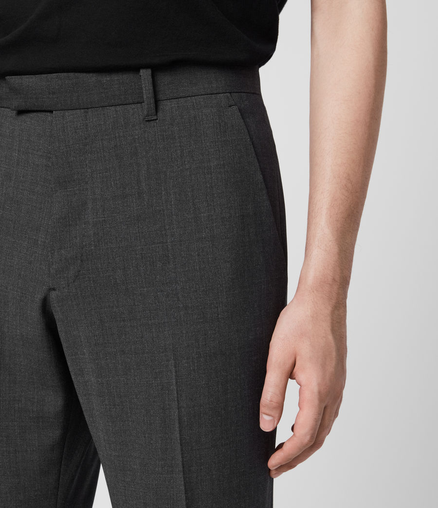 Hombres Cleaver Cropped Slim Trousers (dark_grey_marl) - Image 2