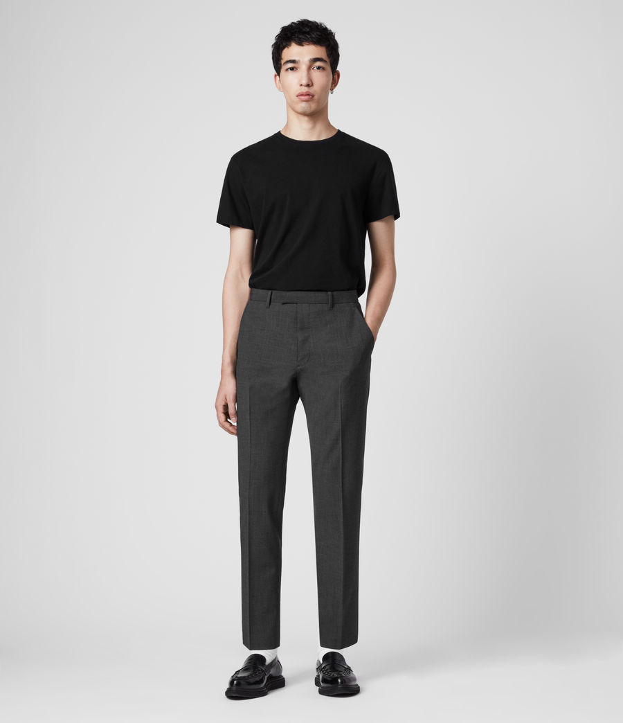 Hombres Cleaver Cropped Slim Trousers (dark_grey_marl) - Image 3