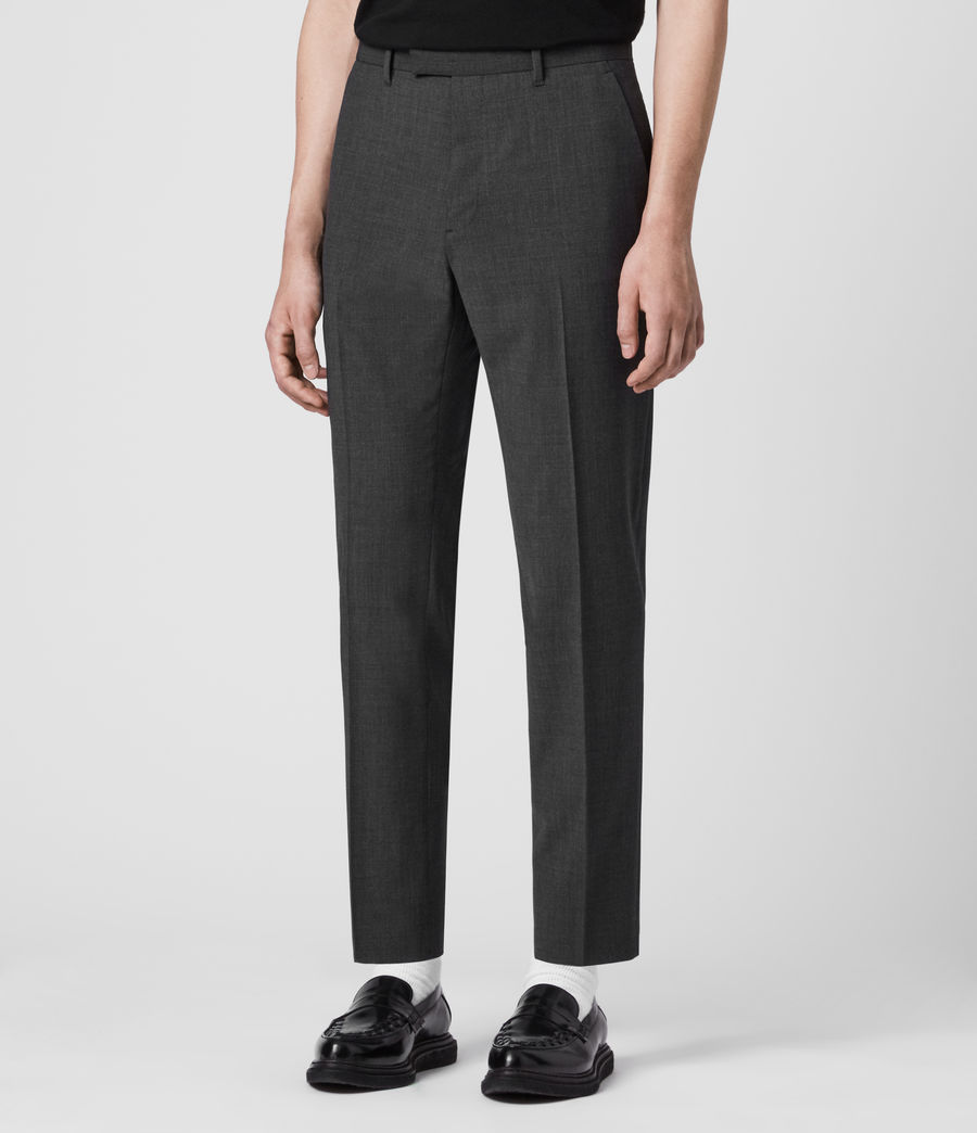 Hombres Cleaver Cropped Slim Trousers (dark_grey_marl) - Image 4