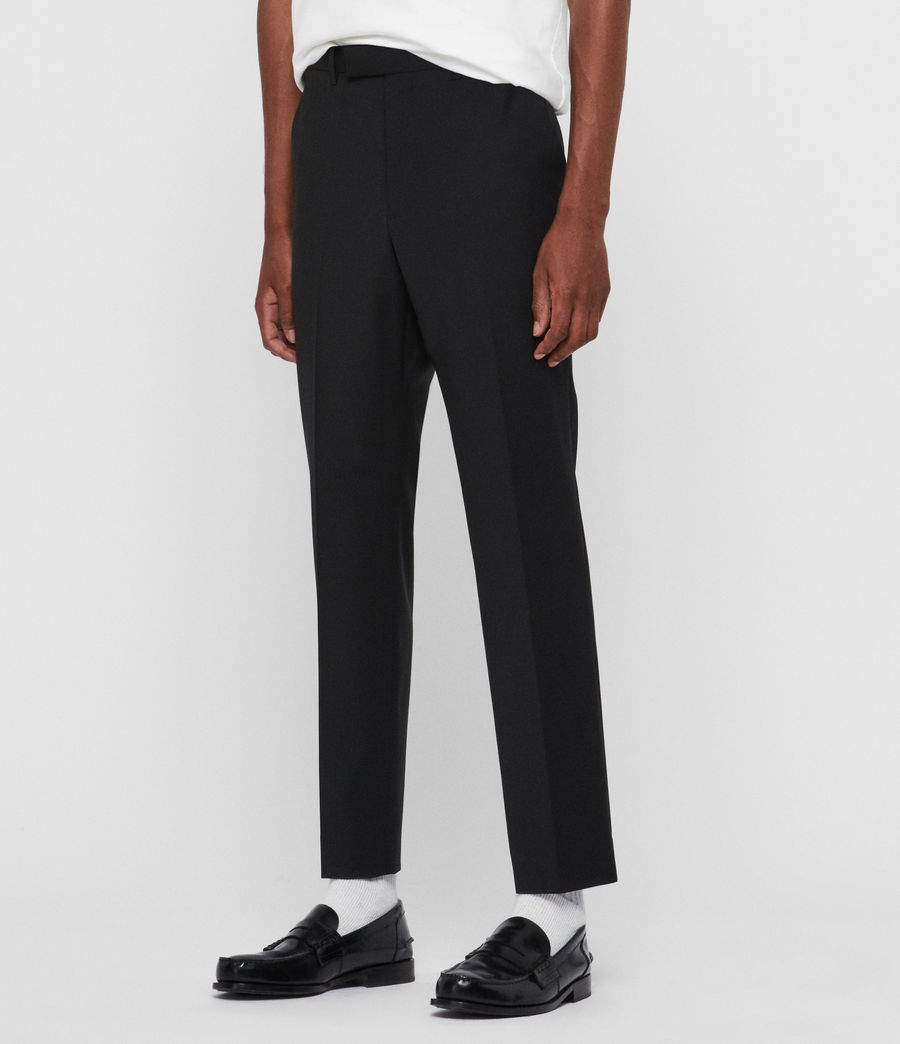 Men's Cleaver Cropped Slim Trousers (black) - Image 2