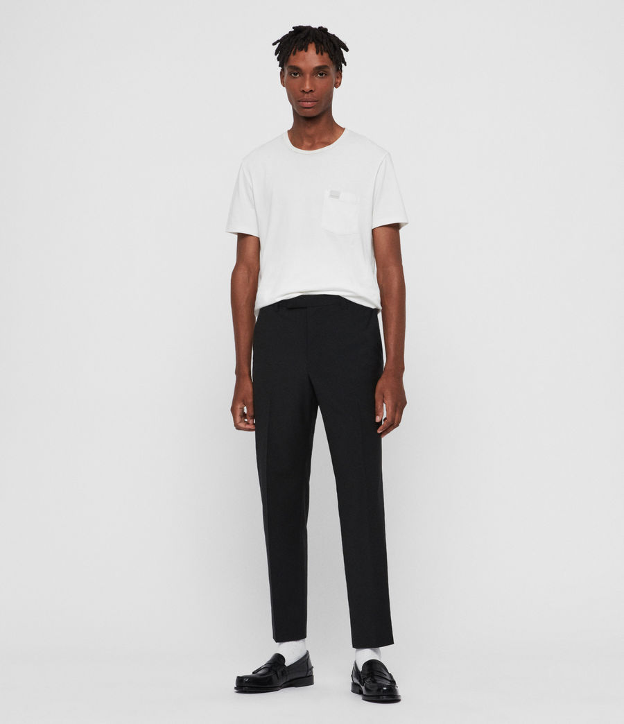 Men's Cleaver Cropped Slim Trousers (black) - Image 3