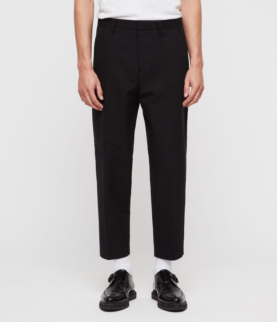 Men's Miro Cropped Wide-Leg Trousers (black) - Image 1