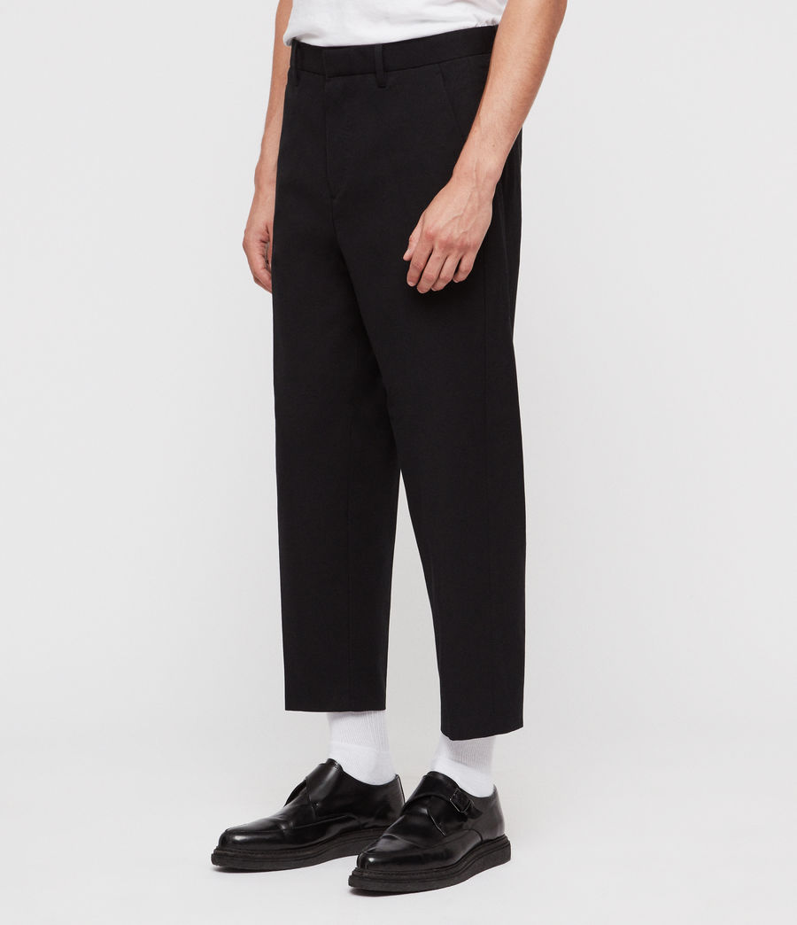 Men's Miro Cropped Wide-Leg Trousers (black) - Image 2