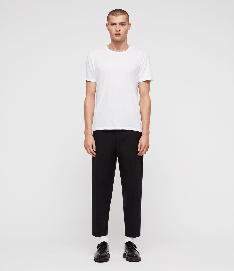 Men's Miro Cropped Wide-Leg Trousers (black) - Image 3