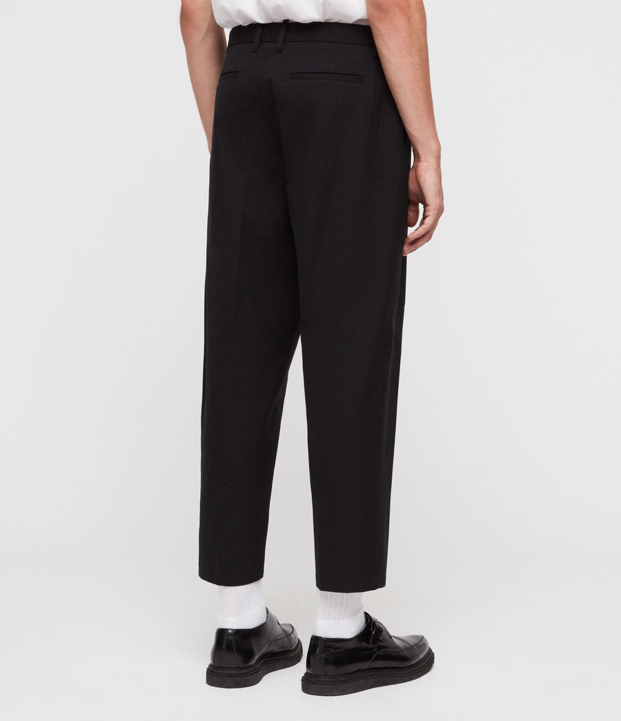 Men's Miro Cropped Wide-Leg Trousers (black) - Image 6