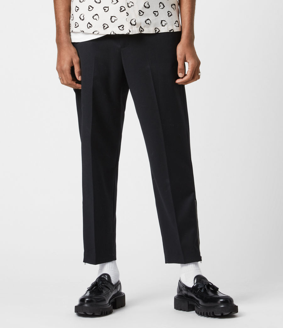 Men's Branfield Cropped Slim Trousers (black) - Image 4