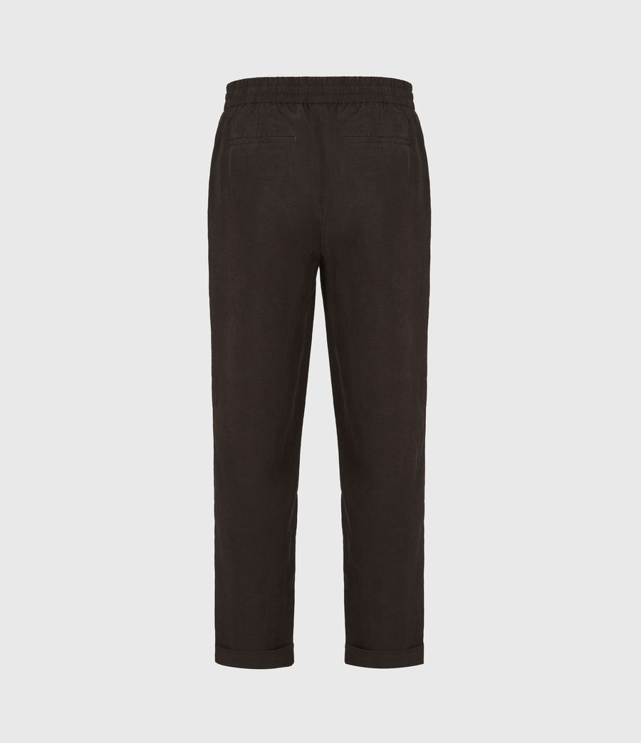 Men's Grove Linen Blend Straight Trousers (washed_black) - Image 3