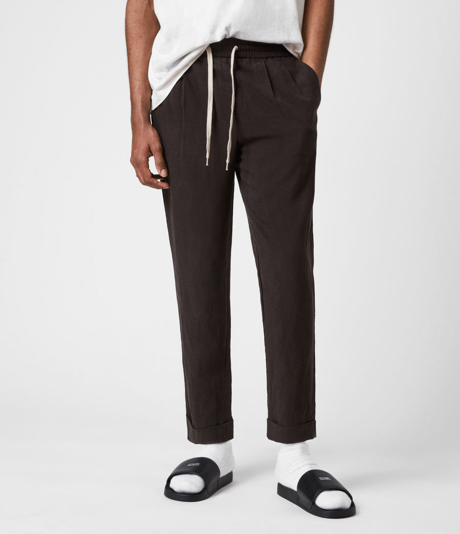 Men's Grove Linen Blend Straight Trousers (washed_black) - Image 4