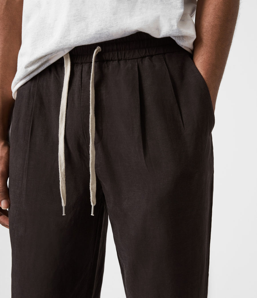 Men's Grove Linen Blend Straight Trousers (washed_black) - Image 6