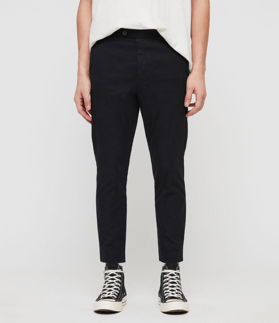 Men's Kato Cropped Slim Trousers (black) - Image 1