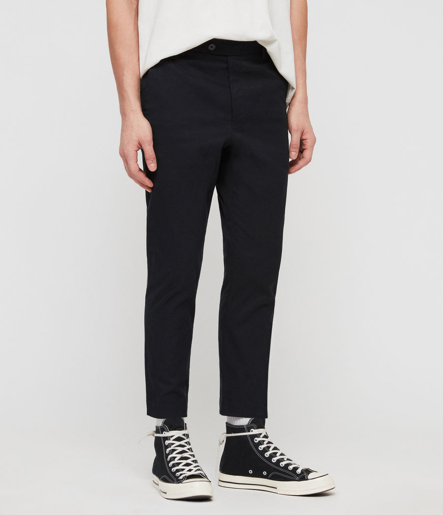 Men's Kato Cropped Slim Trousers (ink_navy) - Image 4