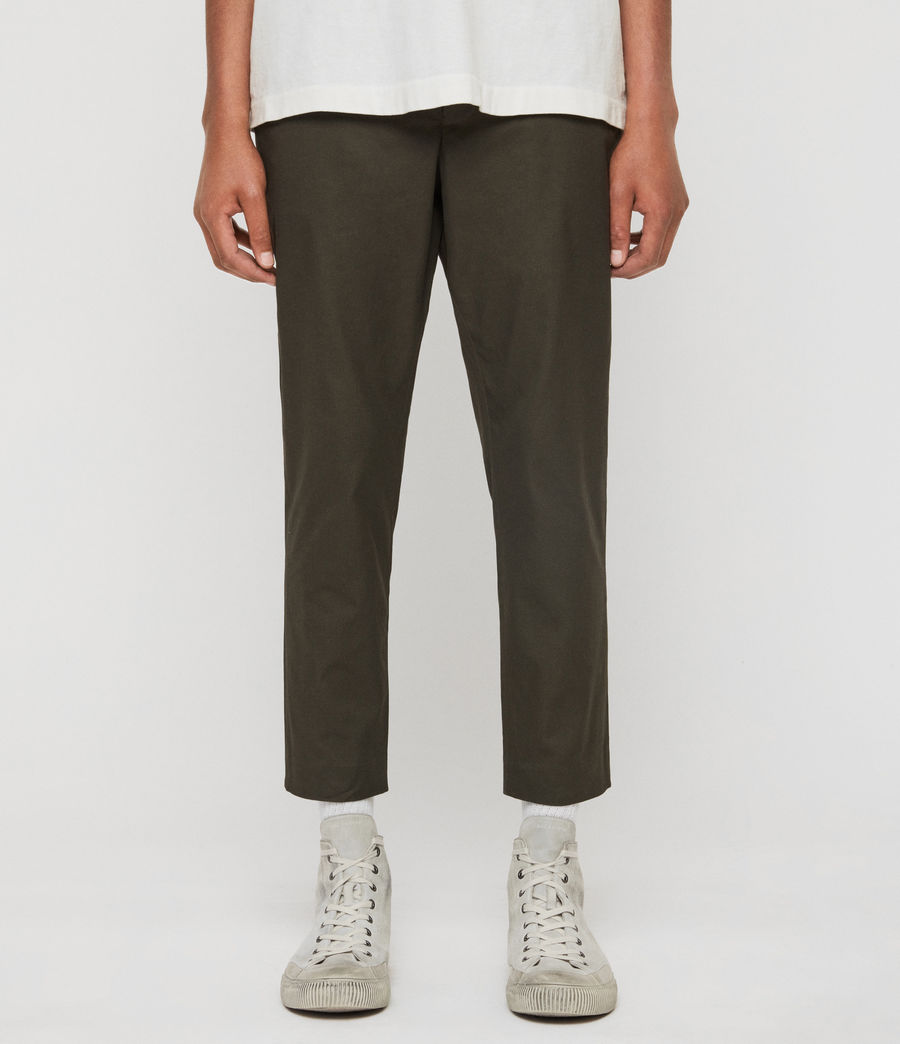 Men's Kato Cropped Slim Trousers (khaki_brown) - Image 1