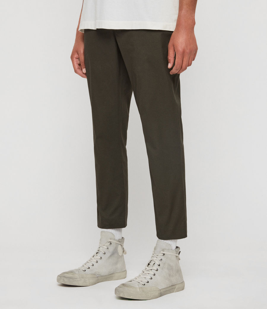 Men's Kato Cropped Slim Trousers (khaki_brown) - Image 4