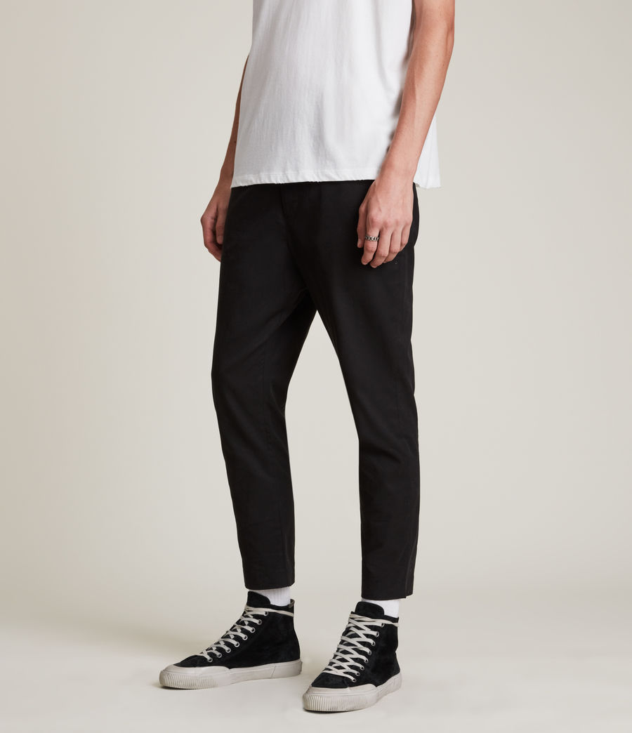 Men's Kato Cropped Slim Trousers (black) - Image 2