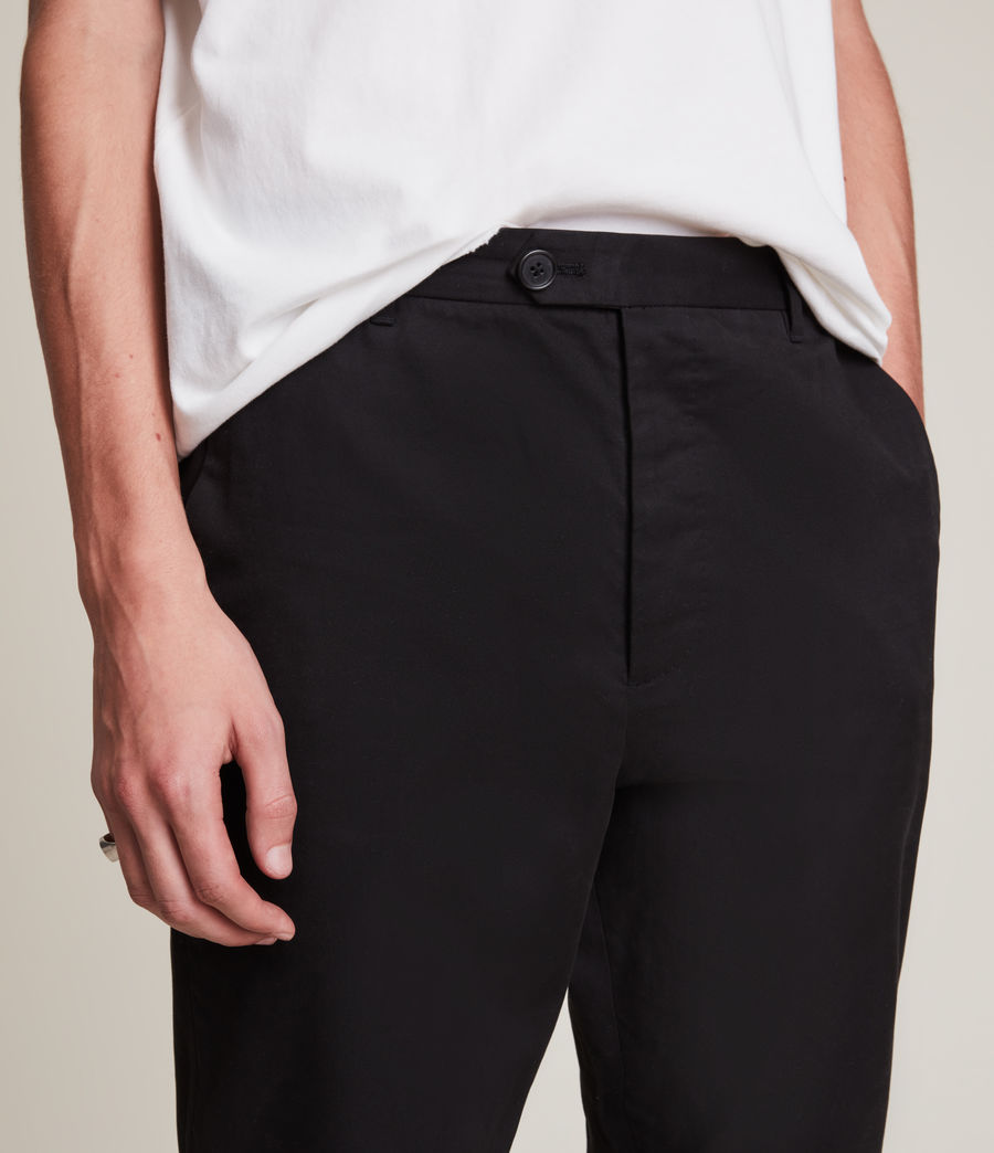 Men's Kato Cropped Slim Trousers (black) - Image 3