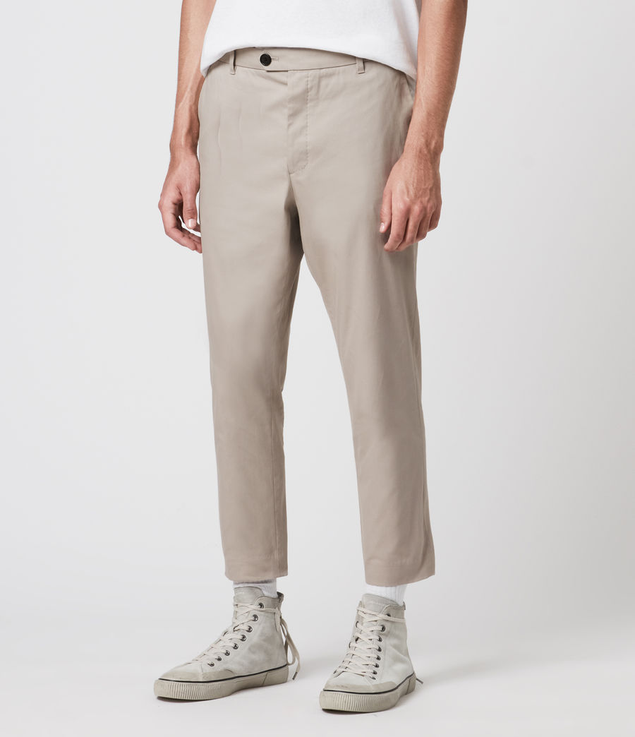 Men's Kato Cropped Slim Trousers (limestone_taupe) - Image 1