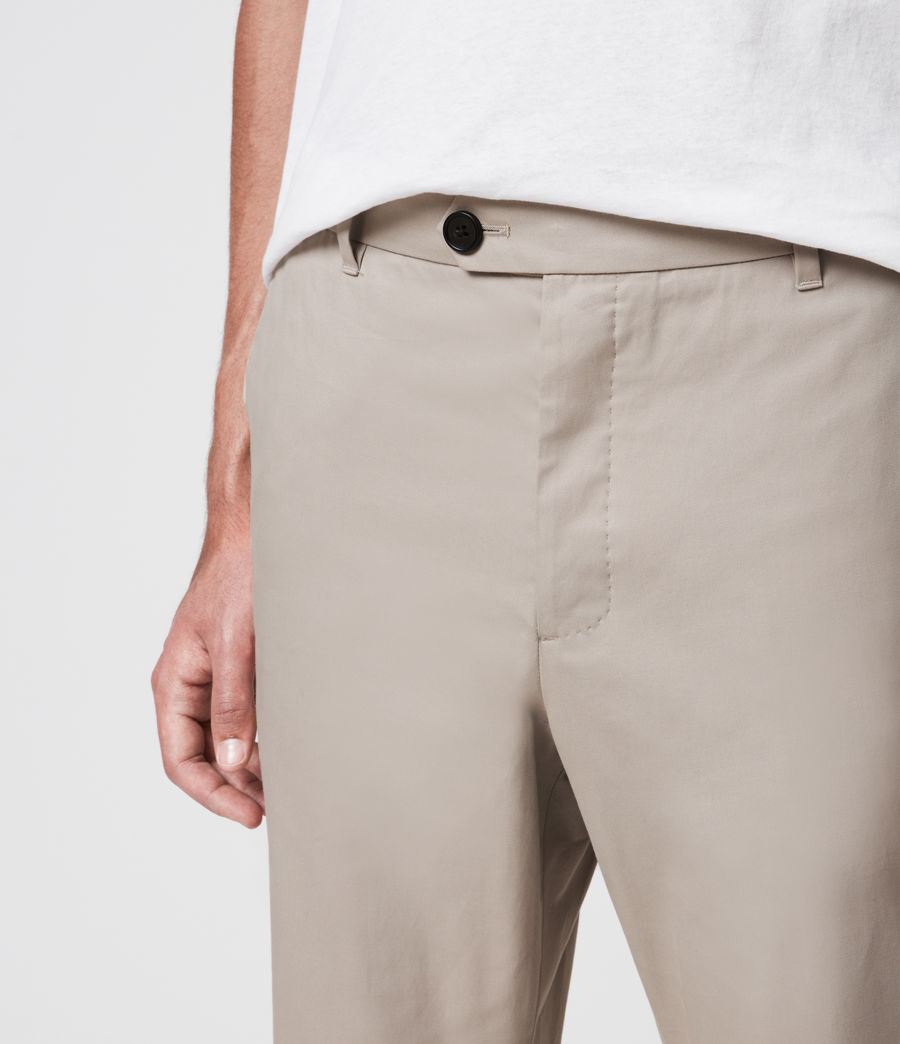 Men's Kato Cropped Slim Trousers (limestone_taupe) - Image 3