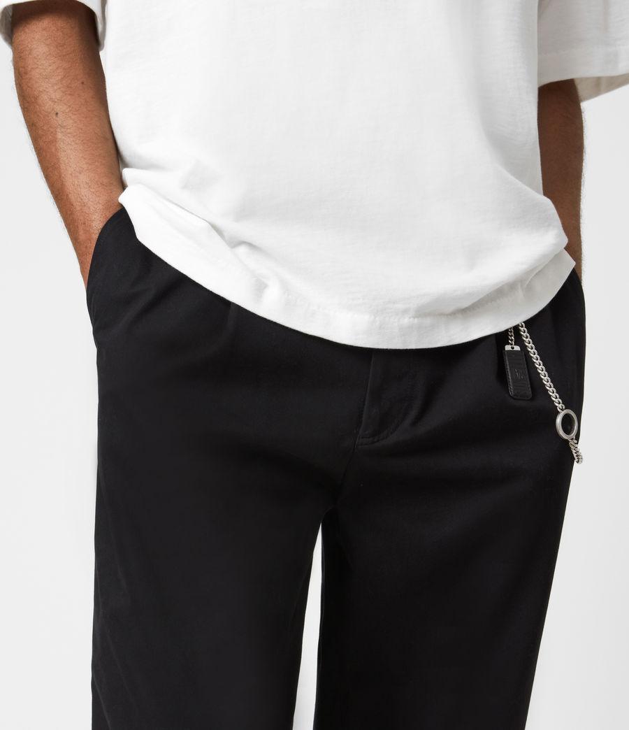 Men's Garrett Cropped Straight Trousers (black) - Image 4