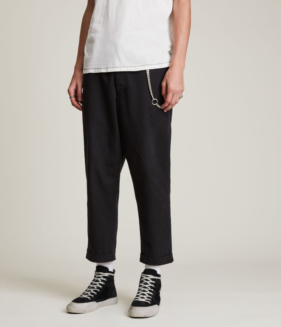 Men's Crate Cropped Straight Trousers (black) - Image 2