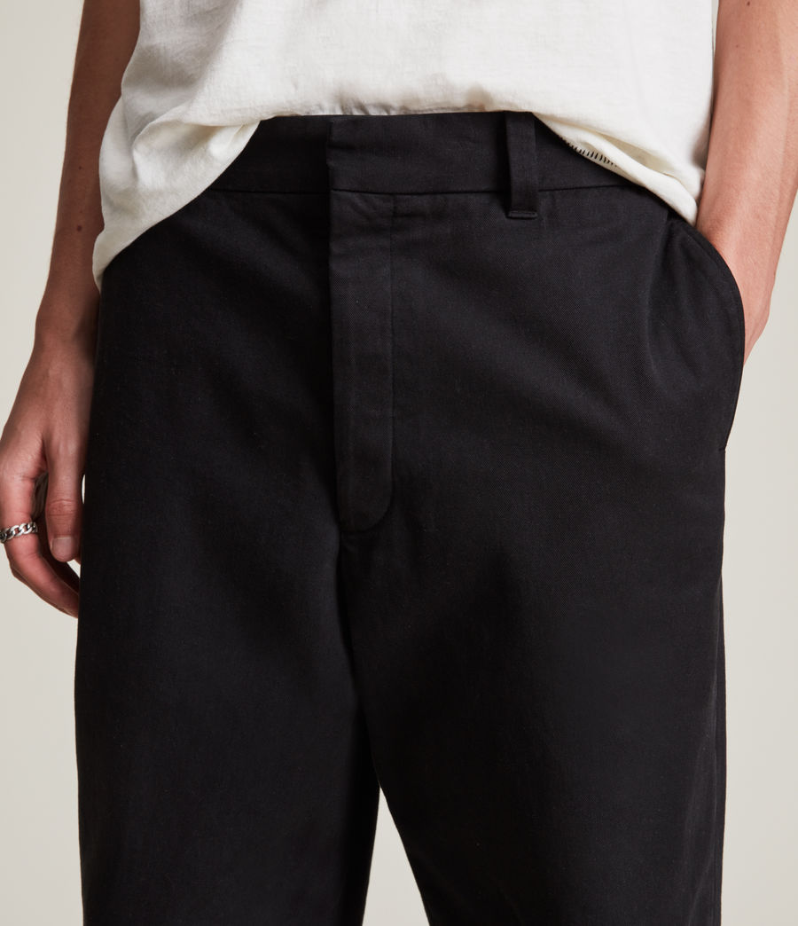 Men's Crate Cropped Straight Trousers (black) - Image 3
