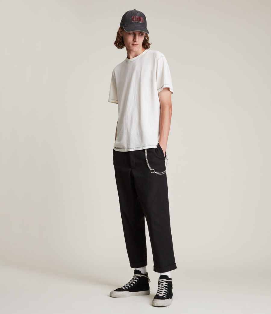 Men's Crate Cropped Straight Trousers (black) - Image 4
