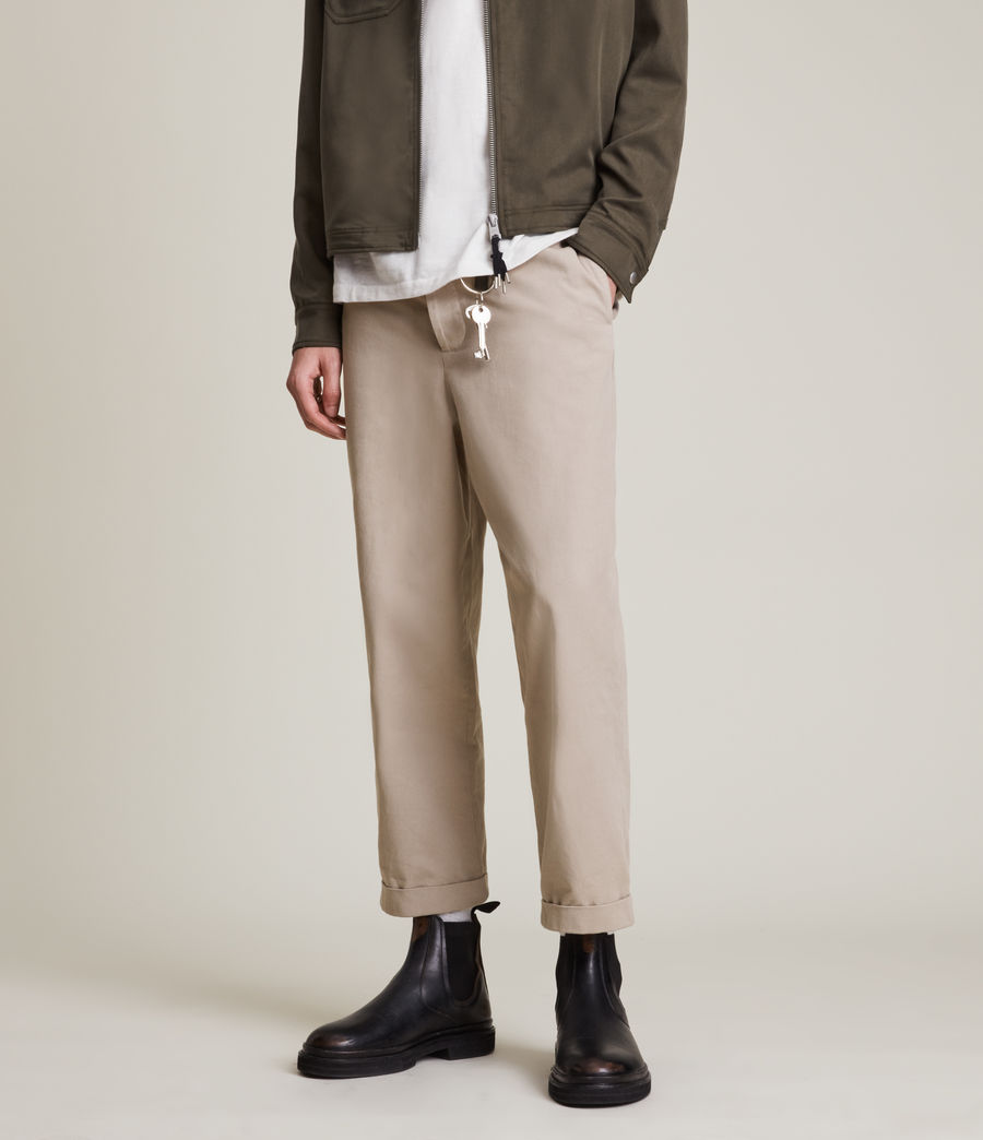 Men's Crate Cropped Straight Trousers (pier_grey) - Image 2