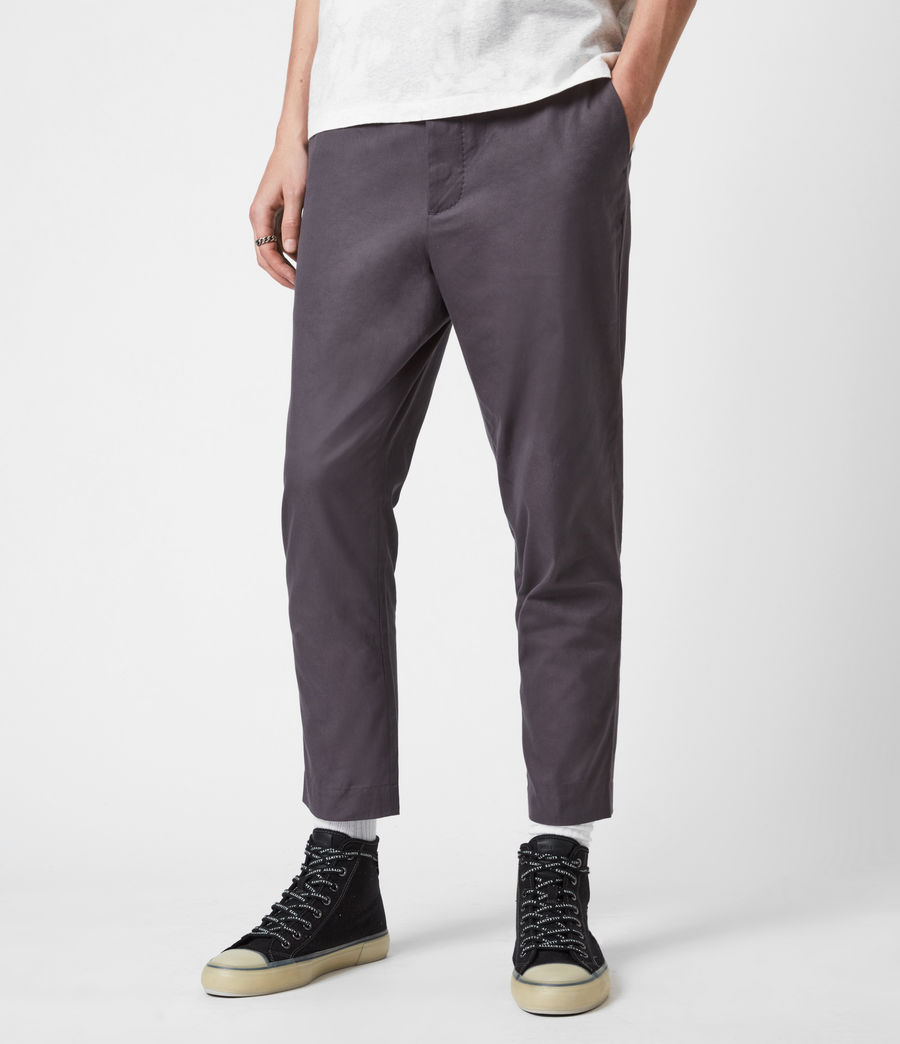 Hommes Kato Cropped Slim Trousers (soot_grey) - Image 4