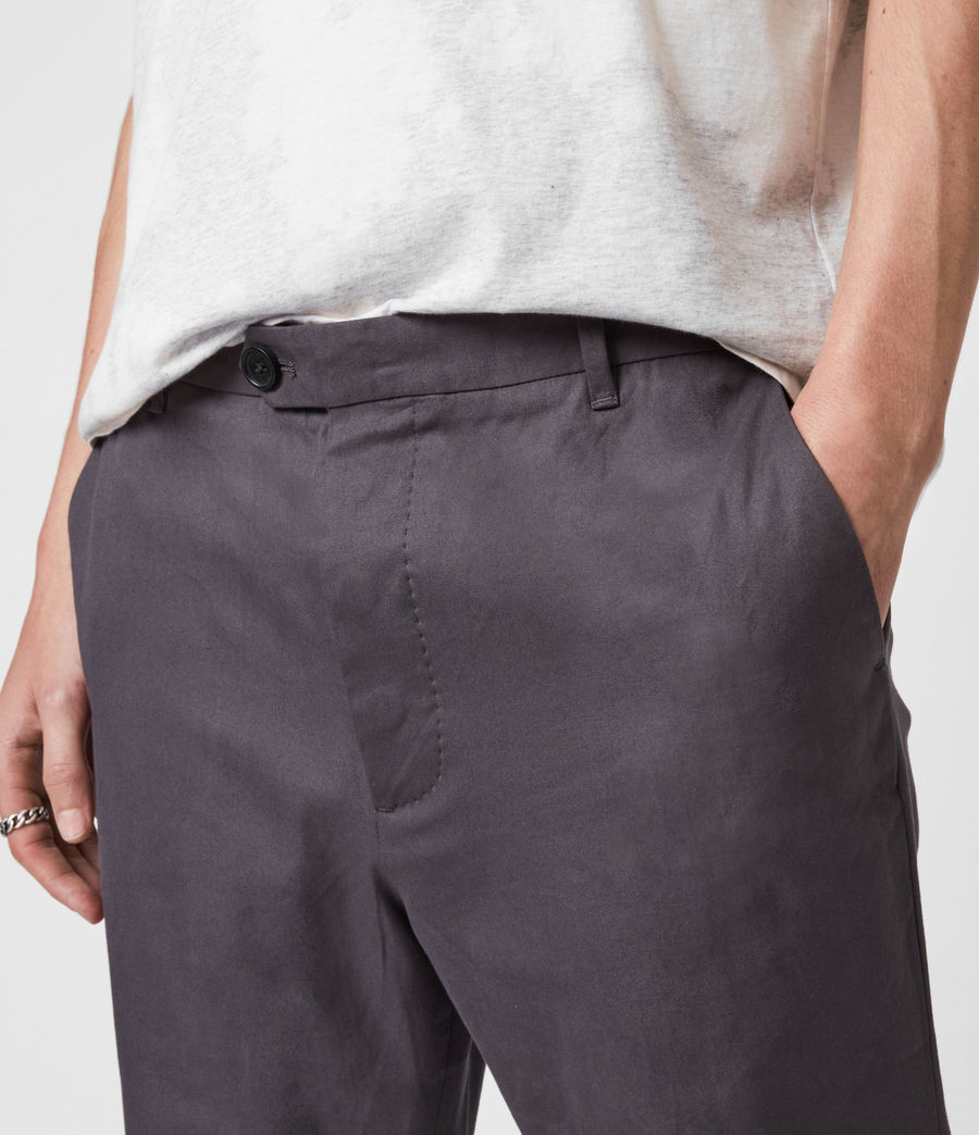 Hommes Kato Cropped Slim Trousers (soot_grey) - Image 6