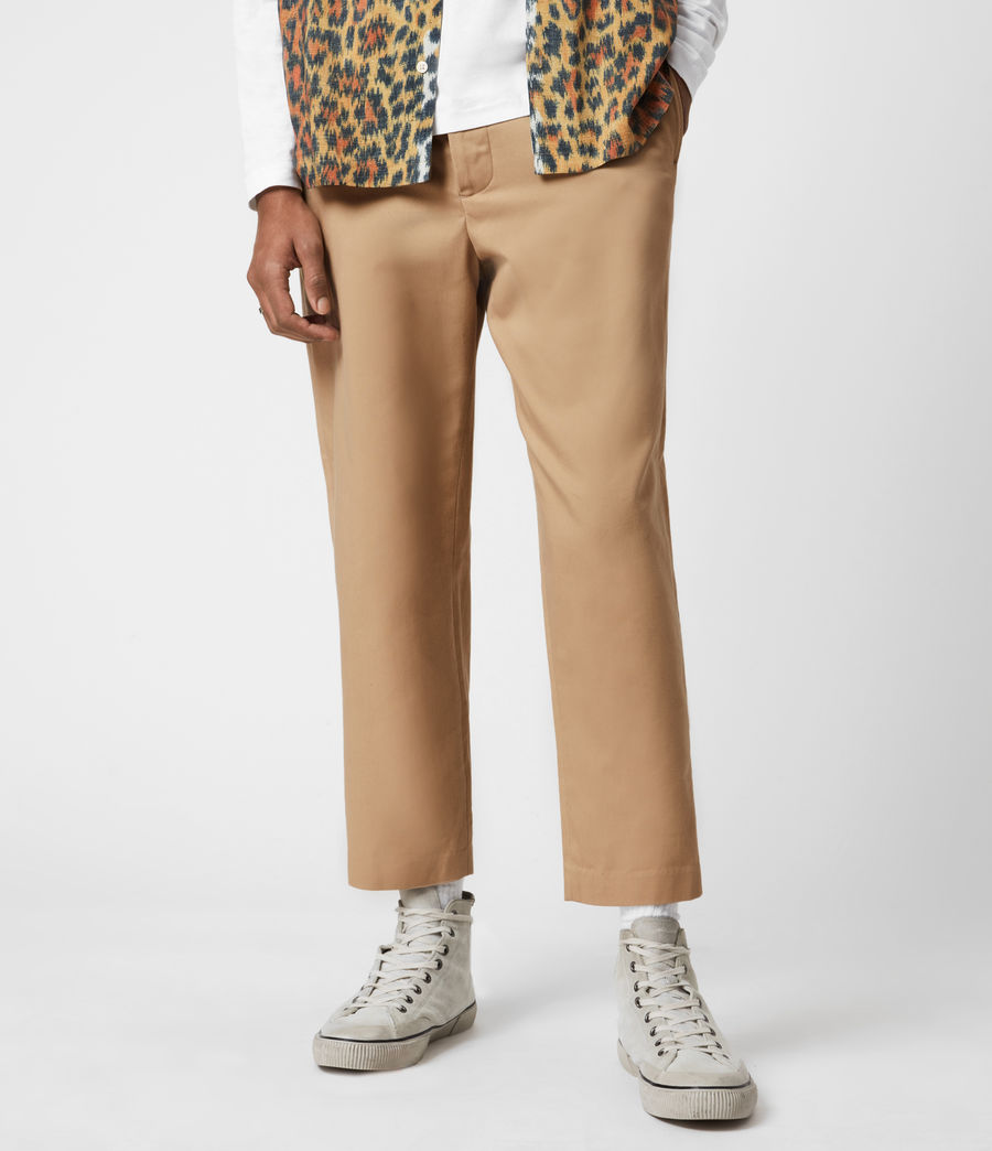 Men's Cart Cropped Straight Trousers (sand) - Image 1