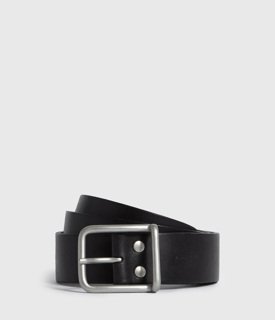 Mens Zain Leather Belt (black) - Image 1