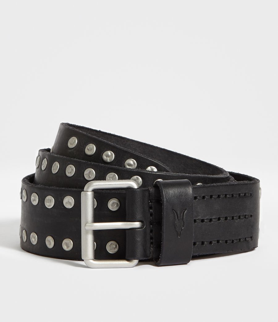 Men's Dice Stud Leather Belt (black) - Image 1