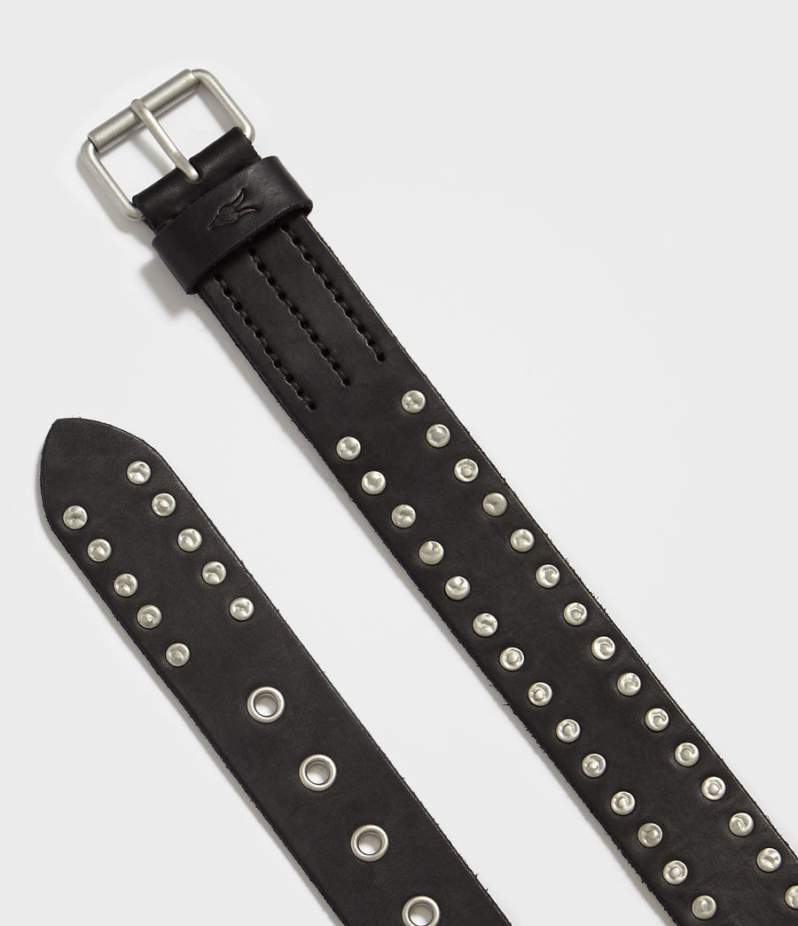 Men's Dice Stud Leather Belt (black) - Image 3