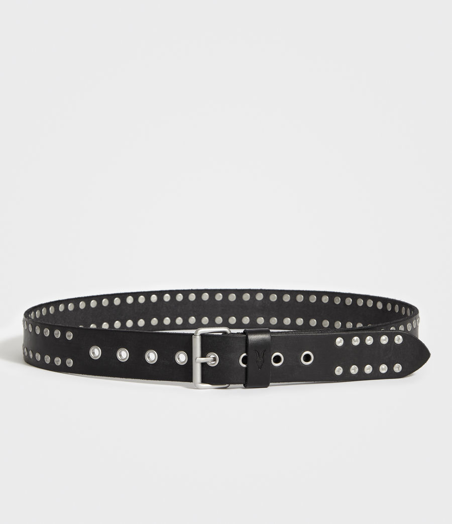 Men's Dice Stud Leather Belt (black) - Image 4