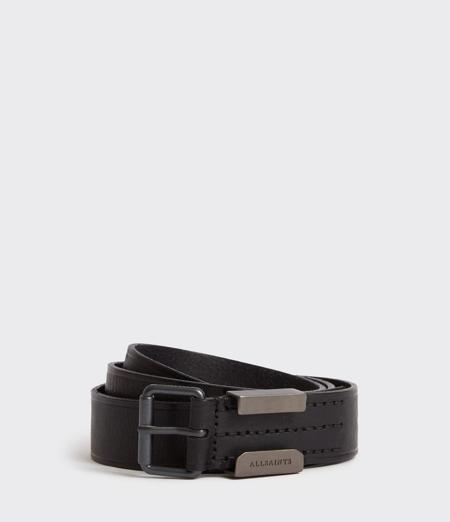 Mens Verge Leather Belt (black_oxi_black) - Image 1