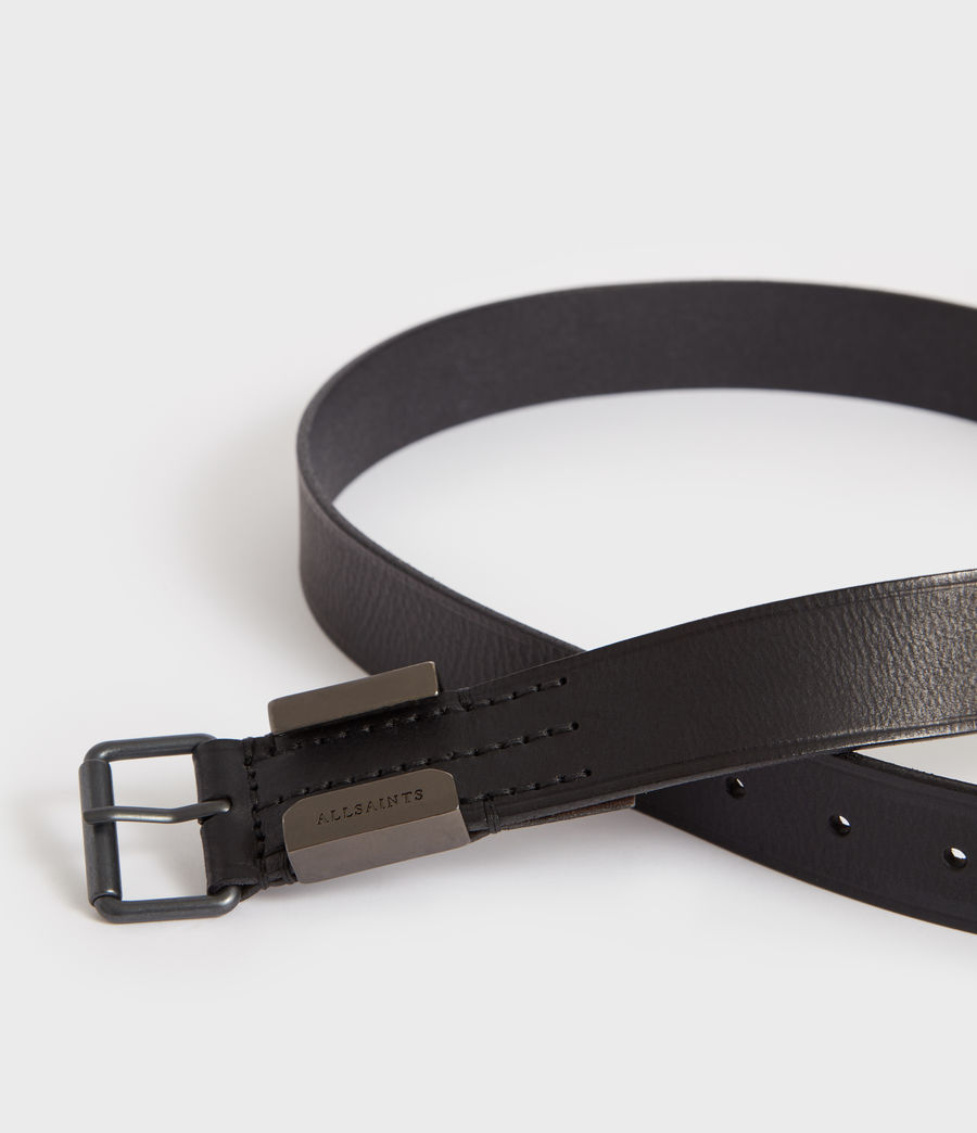 Mens Verge Leather Belt (black_oxi_black) - Image 2