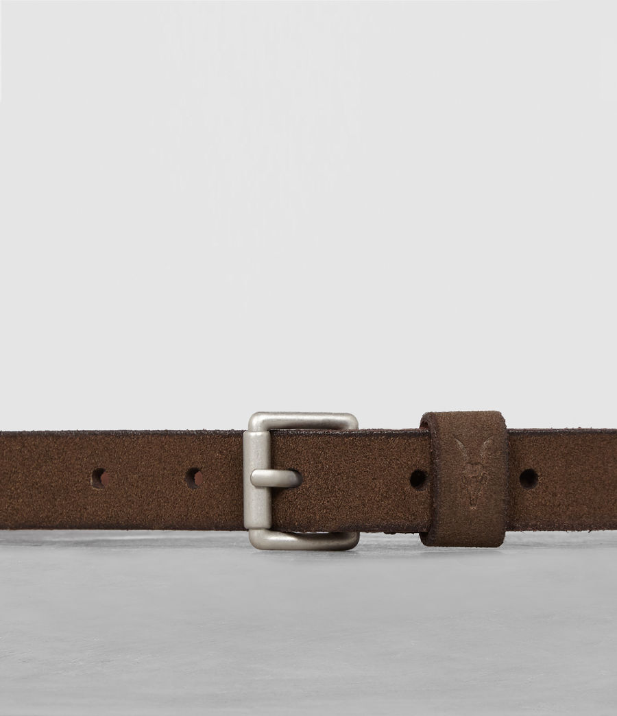 Mens Bevan Leather Slim Belt (taupe) - Image 2
