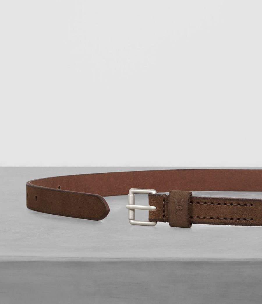 Mens Bevan Leather Slim Belt (taupe) - Image 3
