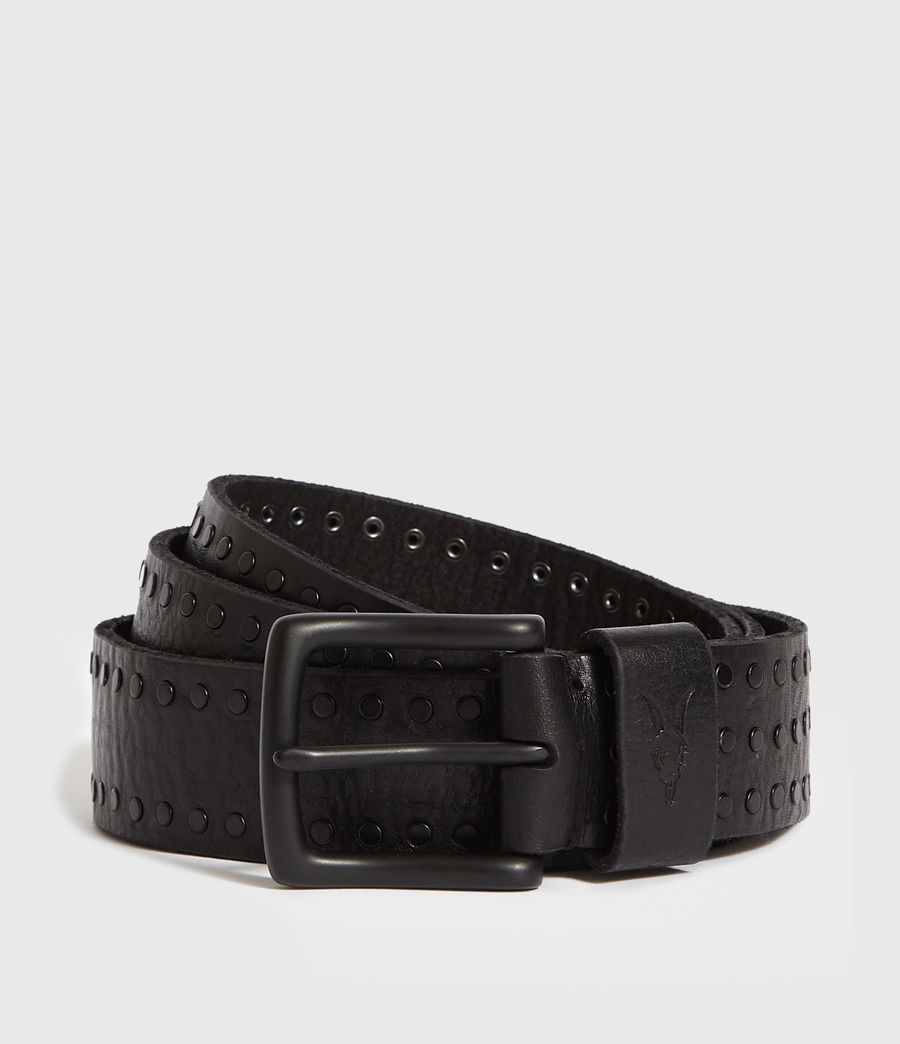 Mens Parson Stud Leather Belt (black) - Image 1