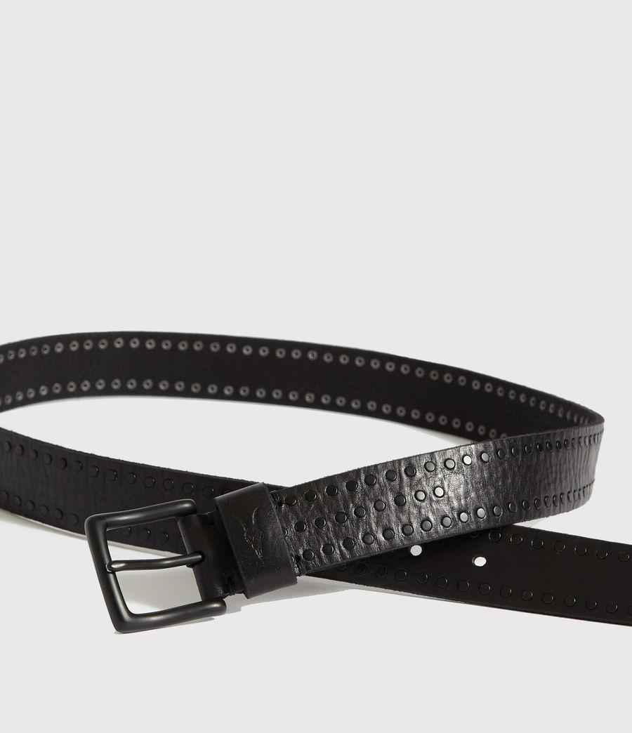 Mens Parson Stud Leather Belt (black) - Image 2