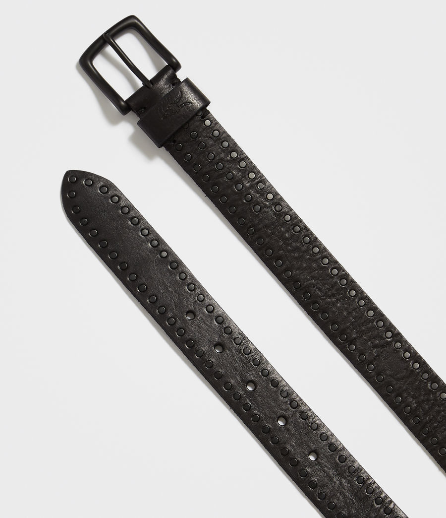 Mens Parson Stud Leather Belt (black) - Image 3