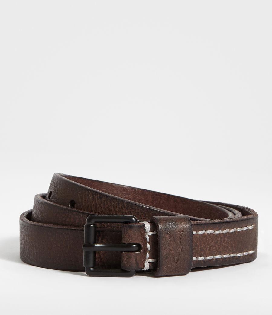Hombres Bevan Slim Leather Belt (bitter_brown) - Image 1