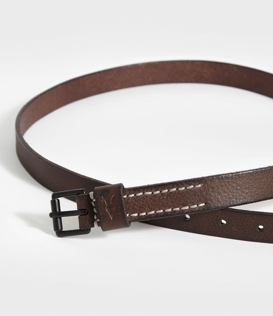 Mens Bevan Slim Leather Belt (bitter_brown) - Image 2