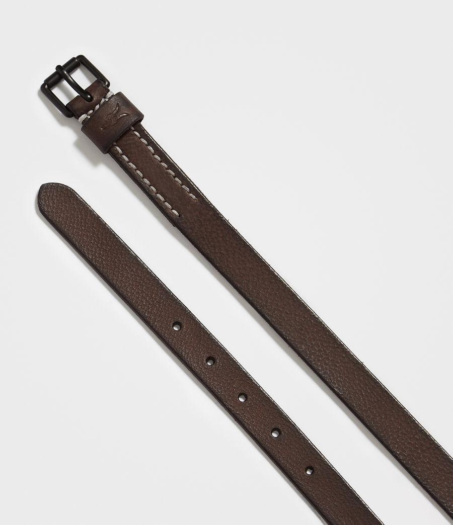 Mens Bevan Slim Leather Belt (bitter_brown) - Image 3