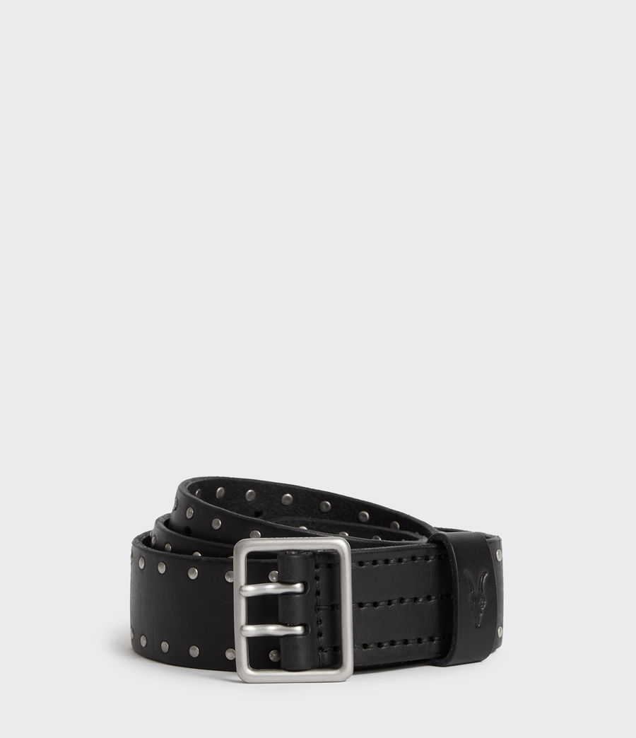 Mens Zephyr Stud Leather Belt (black) - Image 1